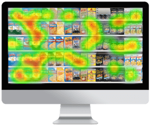 computer screen showing eye tracking heat mapping output of a grocery shelf