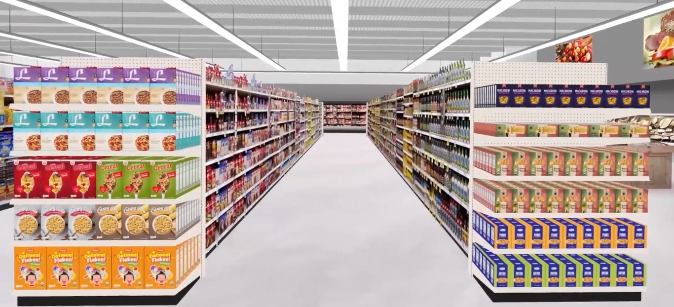 3D rendering of a grocery aisle